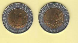San Marino 500 Lire 1993 Bimetallico Bimètallique Sain Marin - Saint-Marin
