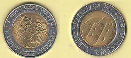 San Marino 500 Lire 1992 Scoperta America Bimetallico Bimètallique Sain Marin - Saint-Marin