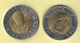 San Marino 500 Lire 1997 Musica RARE Bimetallico Bimètallique Sain Marin In Mint Set's Only - Saint-Marin