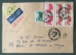 France Divers Liberté De Gandon Sur Enveloppe + Vignette AO (autres Objets), TAD LE TAMPON, Réunion - (B3673) - 1961-....