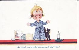 Fillette, Chat Noir, Pot De Chambre, Humour Style Jim Patt, 1940, 2 Scans - Tarjetas Humorísticas