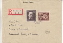 Allemagne - Empire - Lettre Recom De 1944 - Oblit Dresden - Exp Vers Chrast U Chudima - Prix Nobel - Robert Koch - Covers & Documents