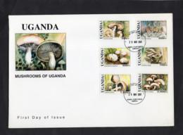 Uganda 2001 - Mushrooms Of Uganda - FDC - Excellent Quality - Uganda (1962-...)