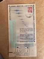 Vignette Meeting Aérien Des Modèles Réduits Aérodrome De Terrefort Saumur 1947 Tract Coupon Parachutage Timbre Iris - Vignetten (Erinnophilie)