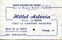 Carte De Visite Hotel ASTORIA Saint Dalmas De Tende - Visiting Cards