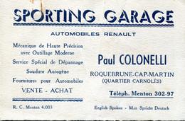 Carte De Visite SPORTING GARAGE ROQUEBRUNE CAP MARTIN - Visiting Cards