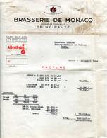 FACTURE BRASSERIE DE MONACO 30 AVRIL 1954 - Other