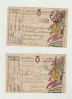 FRANCHIGIA LOTTO DI 2 CARTOLINE DEL 1918 - POSTA MILITARE 262 - CENSURA WW1 - Franchigia