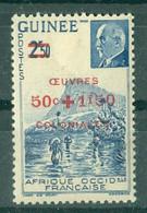 GUINEE - N° 185* MH SCAN DU VERSO - Timbres De 1941 (N° 176 Et 177) Surchargés OEUVRES COLONIALES. - Nuovi
