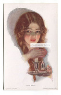 Harrison Fisher - Good Night! Young Woman, Candle - Old Artistic Postcard - Fisher, Harrison