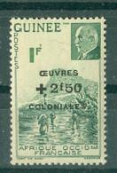 GUINEE - N° 186** MNH SCAN DU VERSO - Timbres De 1941 (N° 176 Et 177) Surchargés OEUVRES COLONIALES. - Nuovi