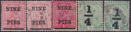 INDIA 1921-22 SG #192-96 Two Sets Of Surcharges Used Incl. All Shades CV £15+ - 1911-35 King George V