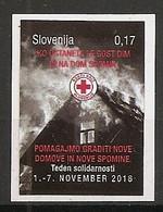 SLOVENIA 2018,RED CROSS,SOLIDARITY,FIRE,HOUSE,HELP,ADHESIV,MNH - Slovenia