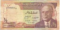 """1/2 Dinar  """"TUNISIE""""   3  Aoùt 1972  P66      Bc 82 - Tunisia"""