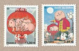 France 2019 -Année Du Cochon Les 2 TIMBRES Petits Provenant Du Bloc 5295 Et 5297  Neuf** - Unused Stamps