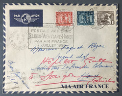 Indochine, Divers Sur Enveloppe 6.7.1939 - Flamme 1er Liaison Postal Aérienne Saigon-Ventiane-Hanoi - (B3714) - Storia Postale