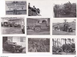 STRASBOURG 32 EME REGIMENT D ARTILLERIE 2 EME GROUPE SUITE DE 12 PHOTOGRAPHIES MILITAIRES ENGINS BLINDES - Guerra, Militari