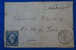 J6 FRANCE LETTRE DEVANT 1862 VIC DESOS  POUR PARIS  CLICHY  + AFFRANCHISSEMENT INTERESSANT - 1862 Napoléon III