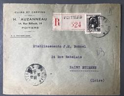 France N°644 (Marianne D'Alger) Seul Sur Enveloppe Reco De Poitiers Pour Saint-Etienne 30.11.1944 - (B3723) - 1921-1960: Periodo Moderno