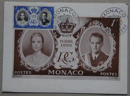 Carte Maximum, Monaco 19 Avril 1956 (Cérémonie Religieuse Du Mariage De Grace Kelly Et De Rainier III De Monaco) - Maximumkarten (MC)