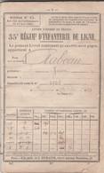 Classe 1854 (Napoléon III) LIVRET MILITAIRE Pour Jean RABEAU De BAYONNE - 35° Régiment D'Infanterie De Ligne - Historische Documenten