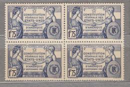 FRANCE 1937 Constitution Bloc De 4 Yv 357 Mi 362 MNH Neuf (**) #17131 - Ongebruikt