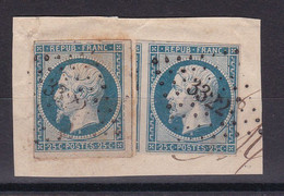D100 / NAPOLEON N° 10 / 2 TIMBRES SUR FRAGMENT OBL COTE 90€ - 1852 Luis-Napoléon