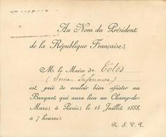 CDV Du Président De La Republique Pour Le Maire De Totes (76) Banquet Expo Universelle Paris 1888 Champ De Mars - Visitekaartjes