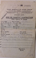 INDOCHINE / VIETNAM .AVIS DE CONSTAT D'INFRACTION . POLICE DE SAIGON - Historische Dokumente