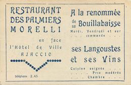 CDV Du Restaurant Des Palmiers Morelli à Ajaccio (Corse) Avec Tarifs Et Horaires Des Transports Automobiles Depui Bastia - Visitekaartjes