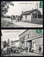 TRIANCOURT: Lot De 2 Cartes Obl. En 1908 Et 1909. 1ère La Gare Animée, 2ème Grande Animation Rue De Beaulieu - Other Municipalities