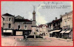 47 - B28583CPA - VILLEREAL - Monument Aux Morts - Café Des Arts - Très Bon état - LOT-ET-GARONNE - Sonstige Gemeinden