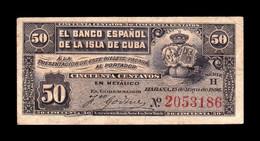 Cuba 50 Centavos 1896 Pick 46a MBC VF - Cuba