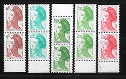 France: Variétés T P G   (timbres Plus Grands)paires N°2179-2181-2376-2424-2188 - Variedades: 1980-89 Nuevos