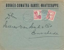 Nederlands Indië - 1921 - 10 Cent Wilhelmina & 5 Cent Cijfer Op Business Cover Van Pontianak Naar Enschede / Nederland - Netherlands Indies