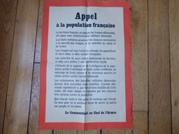 Affiche  Allemande 1940 Invasion Pour La Population Française - 1939-45