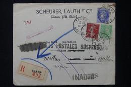 FRANCE - Enveloppe Commerciale En Recommandé De Thann Pour Millau En 1940 Et Retour ( Relations Suspendues ) - L 85218 - 1921-1960: Periodo Moderno