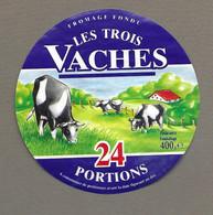 ETIQUETTE De FROMAGE.. FROMAGE FONDU.. Les Trois Vaches.. 24 Portions - Formaggio