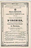 KORTRIJK - Jeanne Henriette D'ORCHIES - Echtgen. Chevalier Jacques De BORMAN - °1807 En +1871  - (Franstalig) - Imágenes Religiosas