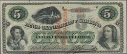 "Argentina / Argentinien: Banco Oxandaburu Y Garbino 5 Pesos Fuertes 1869 With Red Overprint ""BANCO D - Argentina"