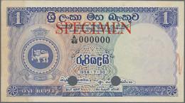 "Ceylon: Central Bank Of Ceylon 1 Rupee 30th July 1956 SPECIMEN, P.56as With Red Overprint ""Specimen"" - Sri Lanka"