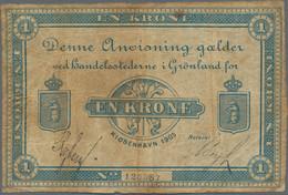Greenland / Grönland: Handelsstederne I Grønland 1 Krone 1905 With Signatures: Ryberg & Bergh, P.5e, - Groenlandia