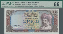 Oman: Central Bank Of Oman 10 Rials 1993, P.28b In Perfect Condition And PMG Graded 66 Gem Uncircula - Oman