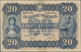 Switzerland / Schweiz: La Caisse Fédérale 20 Francs 10th August 1914, P.21, Extraordinary Rare And H - Switzerland
