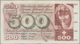 Switzerland / Schweiz: 500 Franken 4th October 1957, P.50b, Still Strong Paper With Several Folds An - Switzerland