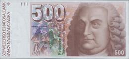 Switzerland / Schweiz: 500 Franken 1992, P.58c, Tiny Dint At Lower Left, Otherwise Perfect, Conditio - Switzerland