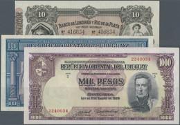 Uruguay: Set Of 3 Notes Containing 10 Pesos 1935 S/N 6064311 Serie A, P. 30b (pressed AUNC), 1000 Pe - Uruguay