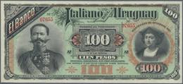 Uruguay: El Banco Italiano Del Uruguay 100 Pesos 1887 Remainder W/o Signatures But With S/N P. S215, - Uruguay