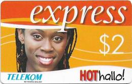 Malawi - Telekom Malawi - Express - Smiling Girl, No Expiry Date, Barcode Length 28mm, GSM Refill 2$, Used - Malawi