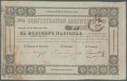 Argentina / Argentinien: Confederatcion Argentina 500 Pesos 1859 P. S206, Vertical Folds, Larger Dam - Argentina